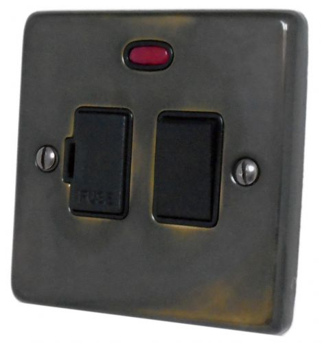 G&H CAN27B Standard Plate Polished Aged Brass 1 Gang Fused Spur 13A Switched & Neon